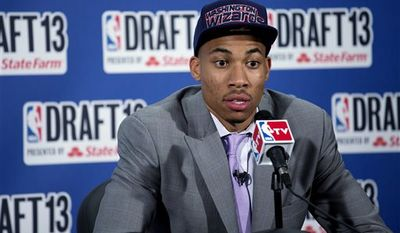 Georgetown's Otto Porter, Jr., selected by by the Washington Wizards in the first round of the NBA basketball draft, speaks during a news conference Thursday, June 27, 2013, in New York. (AP Photo/Craig Ruttle)