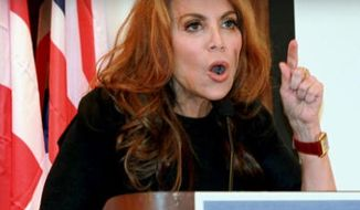 Conservative blogger Pamela Geller speaks at a conference she organized titled on radical Islam, Sept. 12, 2012, in New York. (Associated Press) ** FILE **