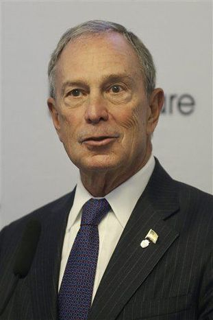 ** FILE ** New York Mayor Michael Bloomberg speaks at a news conference in San Francisco, Friday, June 14, 2013. Mayor Bloomberg and San Francisco Mayor Ed Lee announced they are sponsoring a pair of technology summits to be held in each of their cities in the next year. (Associated Press)