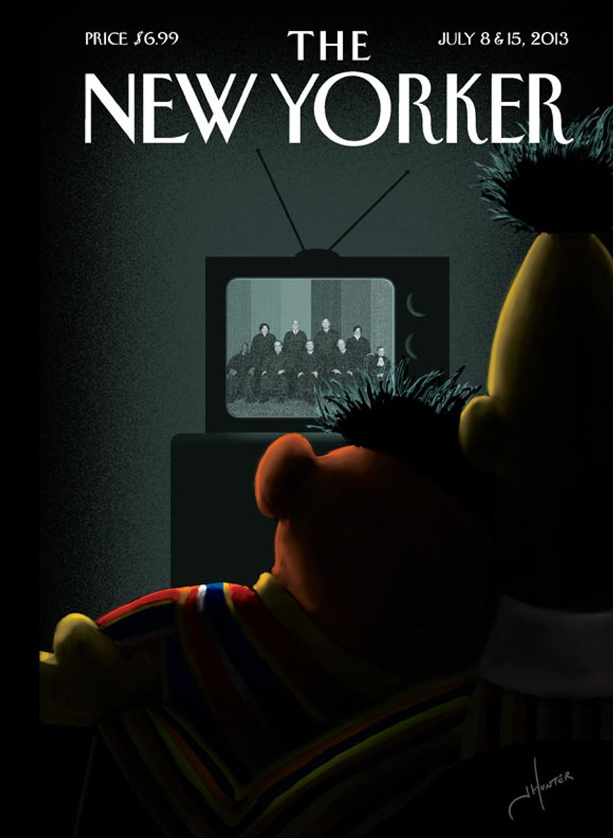 Sesame Street's Bert and Ernie are depicted on the cover of the July 8 issue of New Yorker magazine.