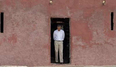 "President Obama symbolic visit last week to the ""Door of No Return,"" through which African slaves are said to have passed as they boarded ships for the Americas, most likely was a rubbish chute on Senegal's Goree Island, Britain's Telegraph newspaper reported."