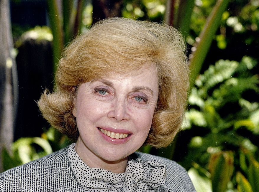 """**FILE** Dr. Joyce Brothers takes a break from a busy schedule on Sept. 1, 1987, in Los Angeles to talk about her upcoming television series, """"The Psychology Behind the News."""" Brothers died May 13, 2013, in New York City, according to publicist Sanford Brokaw. She was 85. (Associated Press)"""