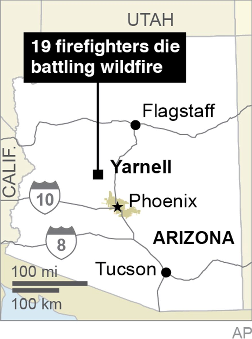 This graphic shows the location of Yarnell, Ariz., where 19 firefighters died battling a wildfire on June 30, 2013. (AP Photo)