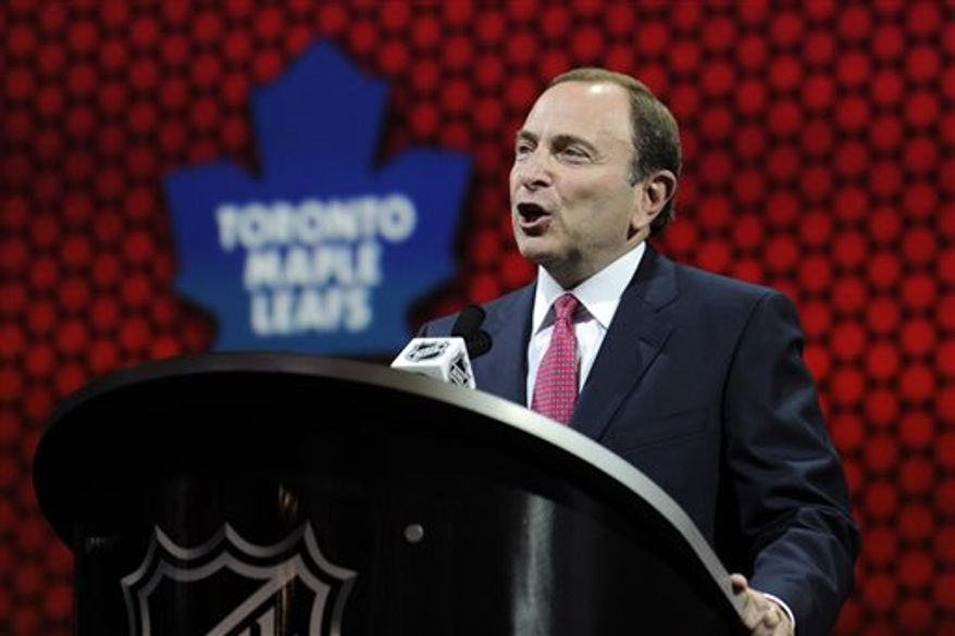 NHL commissioner Gary Bettman talks at the beginning of the NHL hockey draft, Sunday, June 30, 2013, in Newark, N.J. (AP Photo/Bill Kostroun)