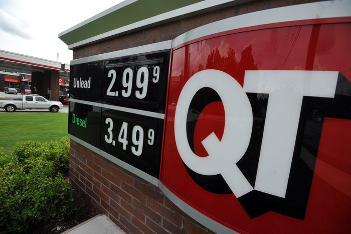 A sign advertising unleaded gas for $2.99 a gallon is seen at a QuikTrip station at the corner of Woodruff Rd. and Verdae Blvd. on July 1, 2013 in Greenville, S.C. (Associated Press)