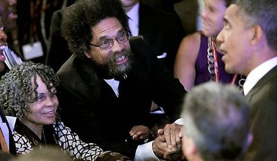 ** FILE ** President Obama (right) shakes hands with Princeton University Professor Cornel West (center) and poet Sonia Sanchez (left) after delivering remarks at the National Urban League's 100th anniversary convention in Washington on Thursday, July 29, 2010. (AP Photo/Pablo Martinez Monsivais)