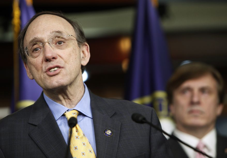 **FILE** Rep. Phil Roe, Tennessee Republican and a physician before being elected to Congress, delivers remarks during a news conference on Capitol Hill with fellow Republican members of the freshman class as they discuss health care overhaul in Washington on March 20, 2010. At right is Rep. John C. Fleming, Louisiana Republican, who was a family physician and former coroner before being elected to Congress. (Associated Press)