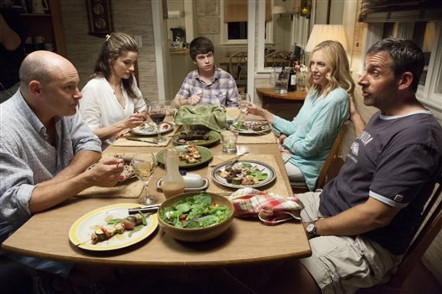 """From left, Rob Corddry, Amanda Peet, Liam James, Toni Collette and Steve Carell in a scene from """"The Way Way Back."""" (AP Photo/Fox Searchlight, Claire Folger)"""