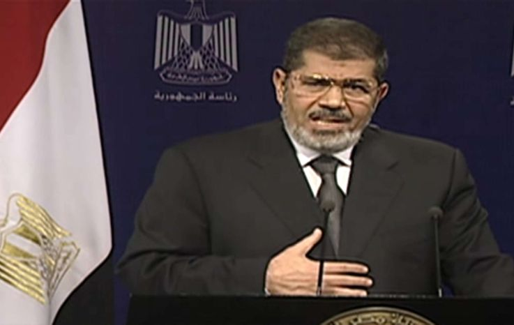 ** FILE ** This image made from video broadcast on Egyptian State Television shows President Mohammed Morsi addressing the nation in a televised speech on Tuesday, July 2, 2013. (AP Photo/Egyptian State Television)