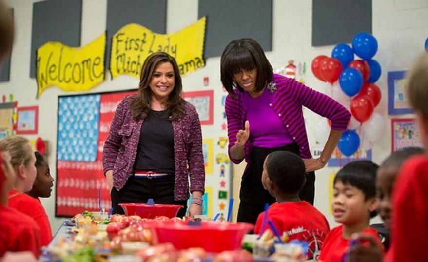 First Lady Michelle Obama and celebrity TV food maven Rachael Ray. (credit: Washington Guardian)
