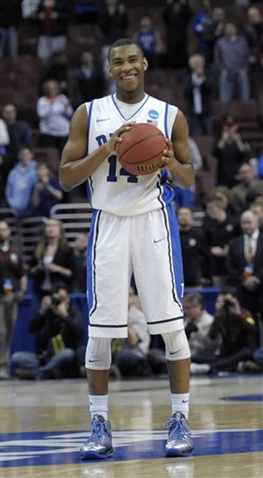 **FILE** Duke's Rasheed Sulaimon holds the ball during the second half of a third-round game of the NCAA college basketball tournament against Creighton, Monday, March 25, 2013, in Philadelphia. Duke won 66-50. (AP Photo/Michael Perez)