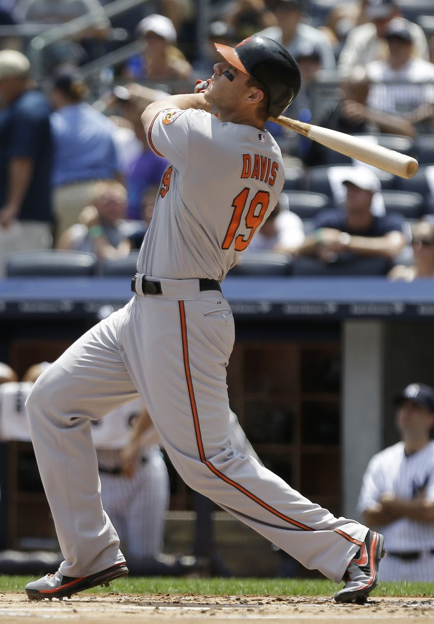Baltimore Orioles' Chris Davis follows through on a two-run home run during the first inning of a baseball game against the New York Yankees on Saturday, July 6, 2013, in New York. (AP Photo/Frank Franklin II)