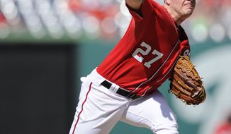 Washington Nationals starting pitcher Jordan Zimmermann delivers against the San Diego Padres during the first inning of a baseball game on Saturday, July 6, 2013, in Washington. (AP Photo/Nick Wass)