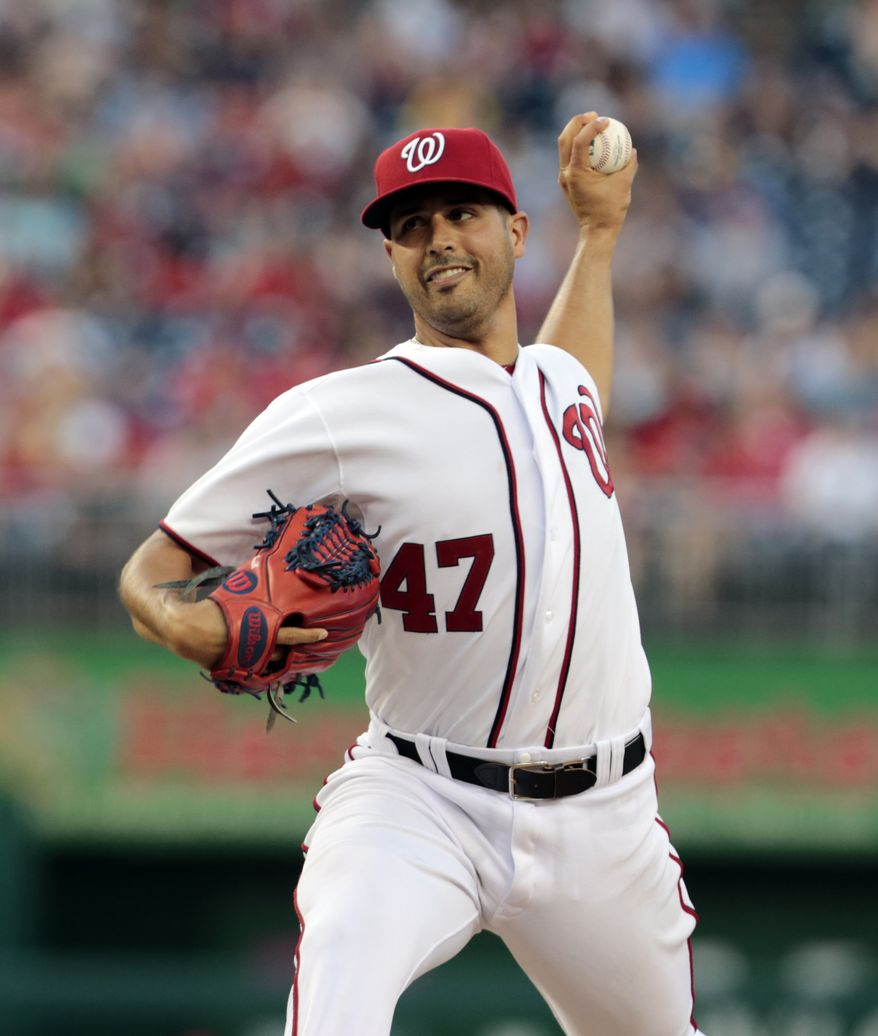 Washington Nationals starting pitcher Gio Gonzalez (47) throws during a baseball game against the San Diego Padres at Nationals Park Friday, July 5, 2013, in Washington. (AP Photo/Alex Brandon)