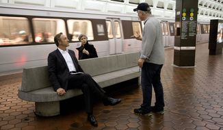 "Actors Kevin Spacey and Kate Mara take instruction from director David Fincher at a D.C. Metro station during production of the Netflix series ""House of Cards."" The show, which is mostly filmed in Maryland, is taking advantage of a tax credit for film productions that more than tripled in the fiscal year that began July 1. (Netflix via Associated Press)"