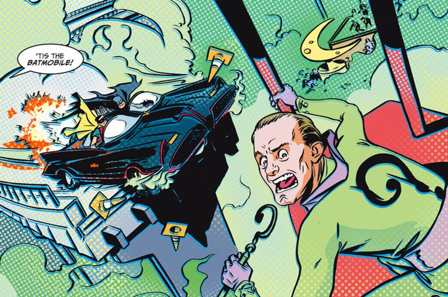 Batman and Robin show up to stop Frank Gorshin as the Riddler in DC Comics' Batman '66.
