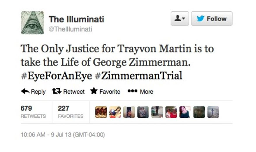 The Illuminati Twitter account advocated for the murder of George Zimmerman on July 9, 2013. (Image: Twitter)