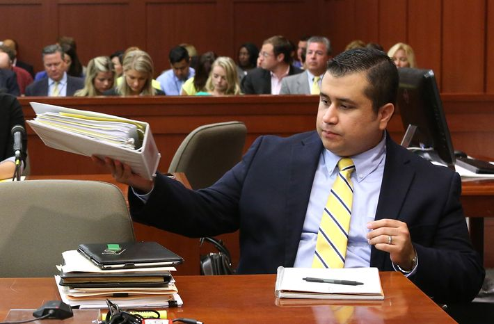 George Zimmerman sits at the defense table during his trial in Seminole Circuit Court in Sanford, Fla., on Monday, July 8, 2013. Mr. Zimmerman is charged with second-degree murder in the fatal shooting of Trayvon Martin, an unarmed teen, in 2012. (AP Photo/Orlando Sentinel, Joe Burbank, Pool)