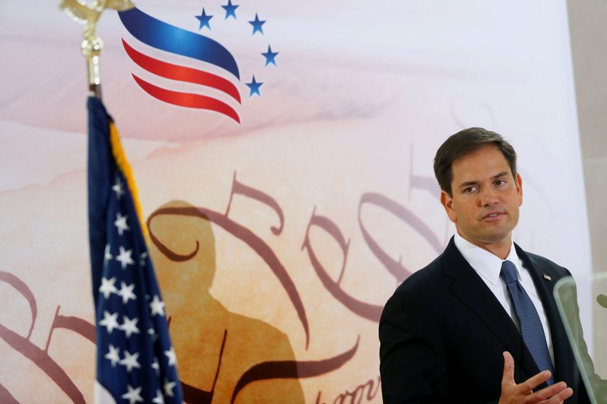** FILE ** Sen. Marco Rubio, R-Fla. speaks at the Faith and Freedom Coalition Road to Majority Conference in Washington, Thursday, June 13, 2013. (AP Photo/Charles Dharapak)