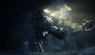 "In this scene from ""Pacific Rim,"" the Gipsy Danger robot battles the Knifehead monster. (AP Photo/Warner Bros. Pictures)"