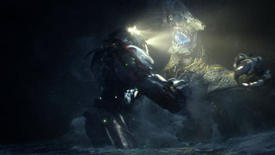 """In this scene from """"Pacific Rim,"""" the Gipsy Danger robot battles the Knifehead monster. (AP Photo/Warner Bros. Pictures)"""