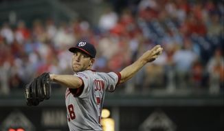 Right-hander Taylor Jordan throws a pitch in the Nationals' game against the Philadelphia Phillies on Tuesday night. (Associated Press photo)