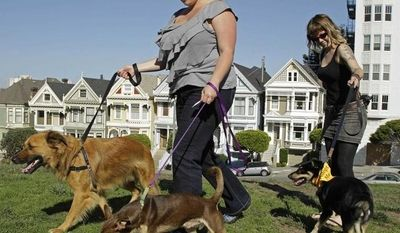 """** FILE ** Antonia Tamer, left, and a woman who identified herself as """"Cheyenne"""" walk their dogs in San Francisco. (Associated Press)"""