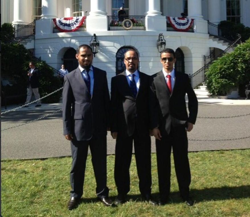 Abdul Rahman Alharbi, once considered a suspect in the Boston Marathon terror attack, is reportedly seen at the White House in this image posted on Twitter. The Blaze reports that an account seemingly belonging to his father attests that he was at an Independence Day event. (Twitter)