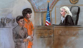 This courtroom sketch depicts Boston Marathon bombing suspect Dzhokhar Tsarnaev standing with his lawyer Miriam Conrad, left, before Magistrate Judge Marianne Bowler, right, during his arraignment in federal court Wednesday, July 10, 2013, in Boston. The 19-year-old has been charged with using a weapon of mass destruction and could face the death penalty. (AP Photo/Jane Flavell Collins)