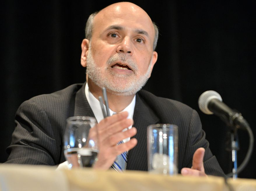 Federal Reserve Chairman Ben S. Bernanke speaks at the National Bureau of Economic Research on Wednesday, July 10, 2013, in Cambridge, Mass. (Associated Press)