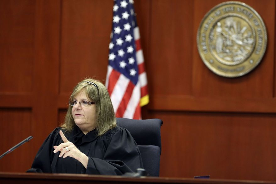 Judge Debra Nelson gives instructions to attorneys during George Zimmerman's trial in Seminole circuit court in Sanford, Fla., Thursday, July 11, 2013. Zimmerman has been charged with second-degree murder for the 2012 shooting death of Trayvon Martin. (AP Photo/Orlando Sentinel, Gary W. Green, Pool)