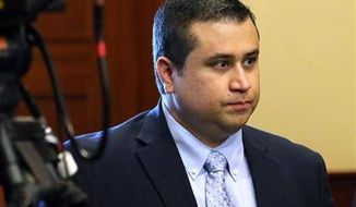 ** FILE ** George Zimmerman arrives in the courtroom for his trial at the Seminole County Criminal Justice Center, in Sanford, Fla., Friday, July 12, 2013. (AP Photo/Orlando Sentinel, Joe Burbank, Pool)