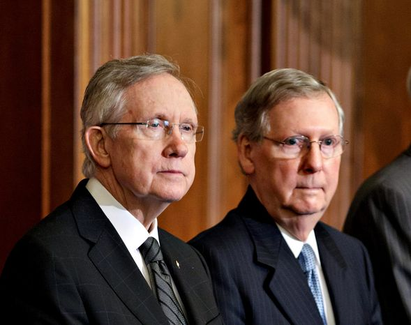 """Senate Majority Leader Harry Reid of Nevada (left) and Minority Leader Mitch McConnell of Kentucky are sparring on the eve of a session to change Senate rules to remove a 60-vote threshold for President Obama's nominations to win confirmation. Mr. Reid says the changes are minimal; Mr. McConnell says Mr. Reid would be """"breaking the rules  in order to change the rules."""" (Associated Press)"""
