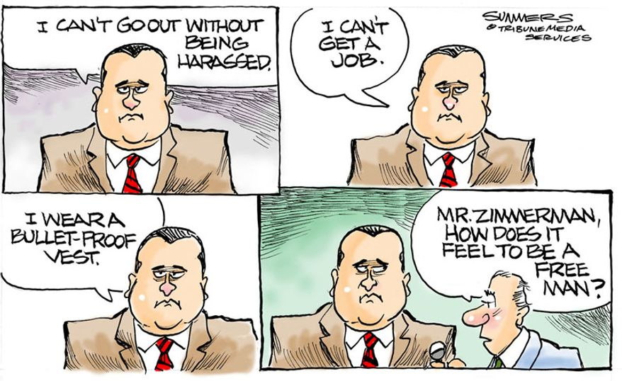 Mr. Zimmerman, how does it feel to be a free man? (Illustration by Dana Summers of the Tribune Media Services)