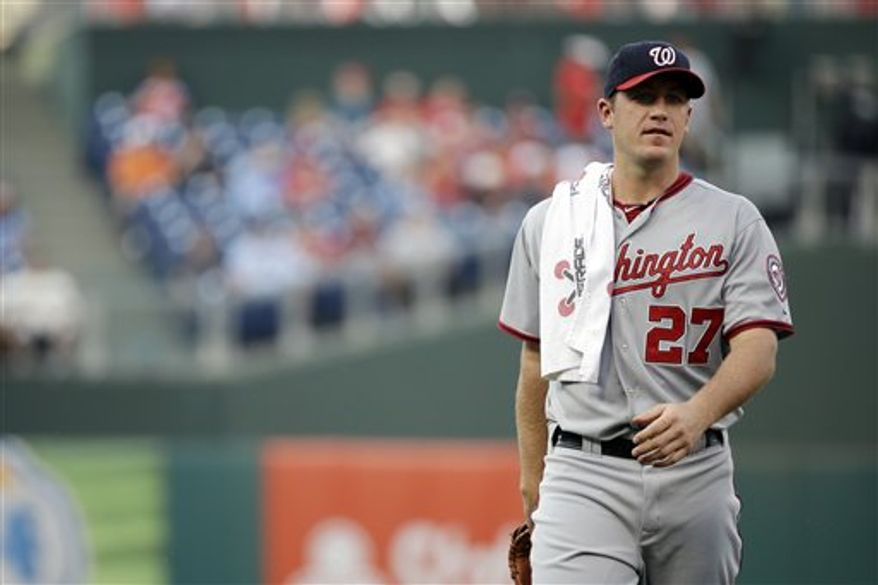 Washington Nationals' Jordan Zimmermann in action during a baseball game against the Philadelphia Phillies, Thursday, July 11, 2013, in Philadelphia. (AP Photo/Matt Slocum)