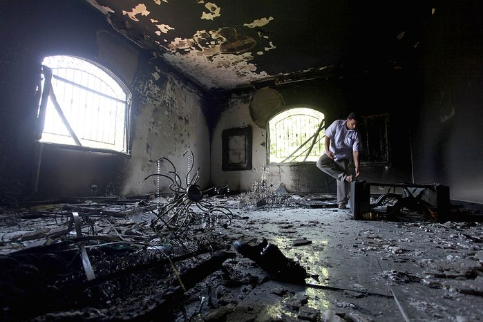 ** FILE ** The U.S. Consulate in Benghazi, Libya, was gutted in the Sept. 11, 2012, attack by Islamic extremists. (Associated Press)