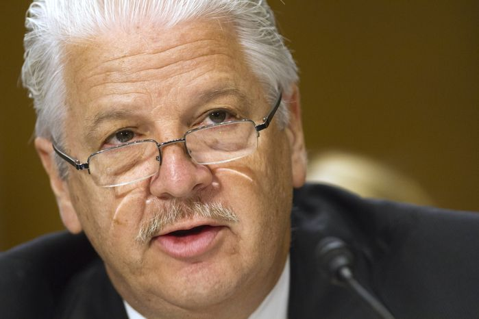 State Department security official Gregory B. Starr testifies at a Senate Foreign Relations Committee hearing on embassy security on Capitol Hill in Washington on Tuesday, July 16, 2013. (AP Photo/Jacquelyn Martin)