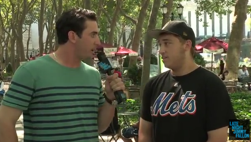 """Mets pitcher Matt Harvey asks New Yorkers about Matt Harvey in this screen shot from NBC's """"Late Night with Jimmy Fallon."""""""