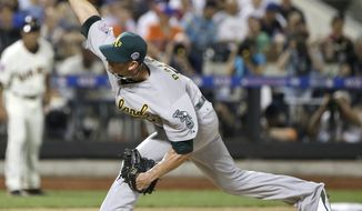 American League's Grant Balfour, of the Oakland Athletics, pitches during the sixth inning of the MLB All-Star baseball game, on Tuesday, July 16, 2013, in New York. (AP Photo/Matt Slocum)