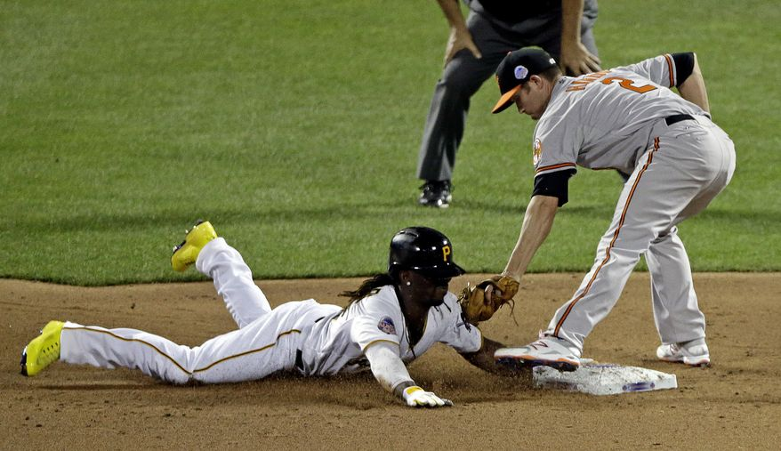 National League's Andrew McCutchen, of the Pittsburgh Pirates, safely steals second under the tag of American League's J.J. Hardy, of the Baltimore Orioles, during the MLB All-Star baseball game, on Tuesday, July 16, 2013, in New York. (AP Photo/Frank Franklin II)