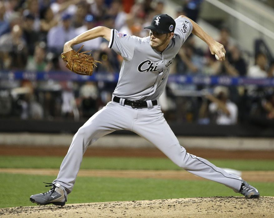 American League's Chris Sale, of the Chicago White Sox, pitches during the second inning of the MLB All-Star baseball game, on Tuesday, July 16, 2013, in New York. (AP Photo/Matt Slocum)