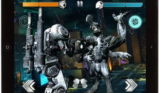 The Jaeger Coyote Tango fights an Axehead in the iPad game Pacific Rim.