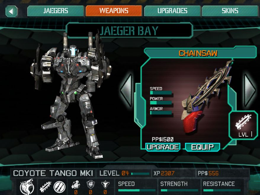 Customize the Jaeger Coyote Tango in the iPad game Pacific Rim.