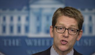 ** FILE ** White House press secretary Jay Carney speaks during the daily briefing at the White House in Washington on Wednesday, July 17, 2013. (AP Photo/Carolyn Kaster)