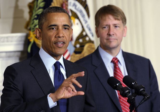 President Obama (left) speaks as Richard Cordray, the newly confirmed director of the Consumer Financial Protection Bureau, looks on in the State Dining Room of the White House in Washington on Wednesday, July 17, 2013. The Senate voted on Tuesday to end a two-year Republican blockade that was preventing Mr. Cordray from winning confirmation. (AP Photo/Susan Walsh)
