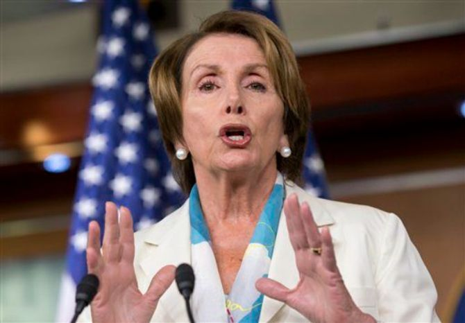 ** FILE ** House Minority Leader Nancy Pelosi of Calif. speaks to reporters on Capitol Hill in Washington, Thursday, July 11, 2013. (Associated Press)