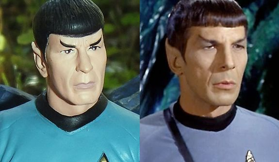 Diamond Select Toys' Mr. Spock compared to actor Leonard Nimoy, Mr. Spock, from the Star Trek episode ÒDevil in the Dark.Ó (Photo by Joseph Szadkowski / The Washington Times)