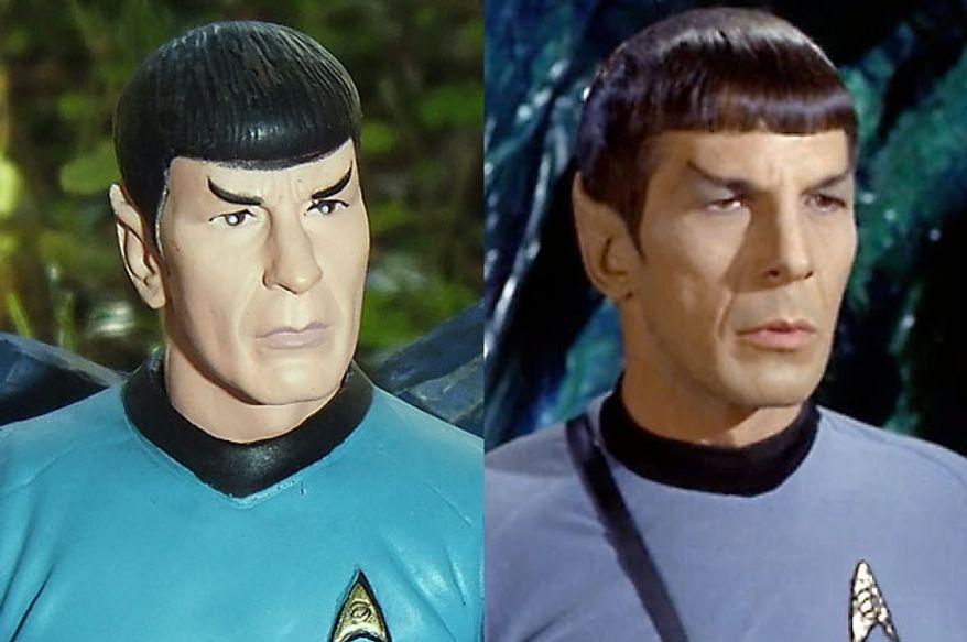 Diamond Select Toys' Mr. Spock compared to actor Leonard Nimoy, Mr. Spock, from the Star Trek episode ÒDevil in the Dark.Ó (Photo by Joseph Szadkowski / The Washington Times)