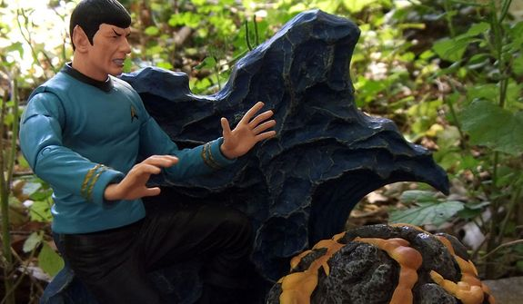 Diamond Select Toys' Mr. Spock performs a mind-meld to feel the pain of the Horta.  (Photo by Joseph Szadkowski / The Washington Times)