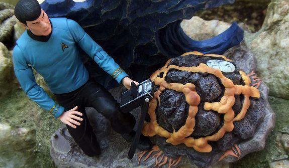 "Diamond Select Toys' Mr. Spock studies the the Horta based on the Star Trek episode ""Devil in the Dark.""  (Photo by Joseph Szadkowski / The Washington Times)"
